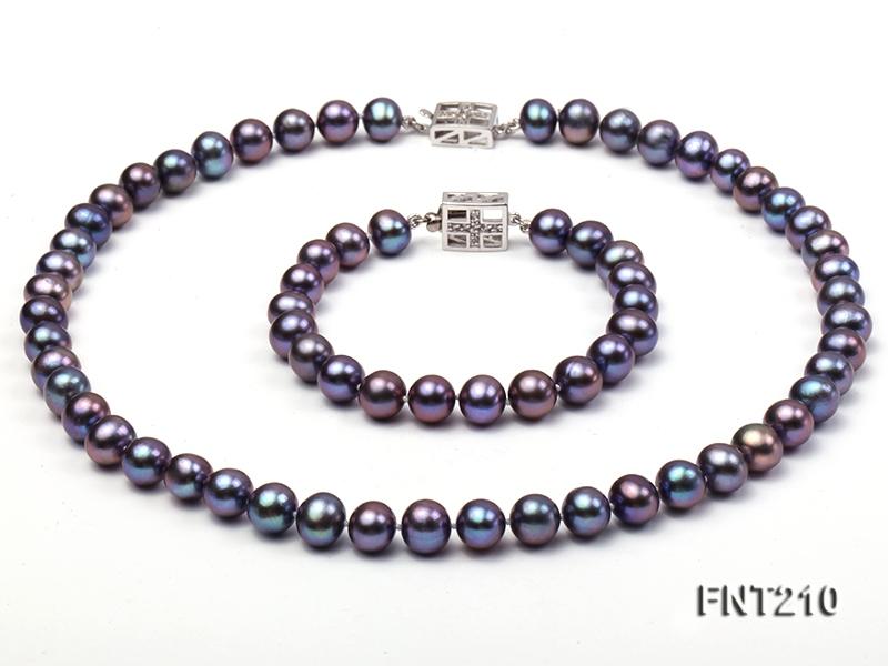 8mm Black Freshwater Pearl Necklace and Bracelet Set