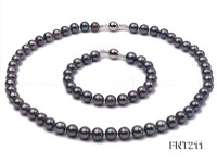 8mm Black Round Freshwater Pearl Necklace and Bracelet Set