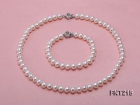 8mm White Flat Freshwater Pearl Necklace and Bracelet Set