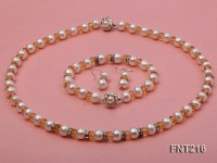 White Freshwater Pearl, Crystal Beads and Zircons Necklace, Bracelet and Stud Earrings Set