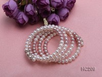 4 strand natural white and lavender 5-6mm freshwater pearl bracelet