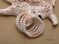 4 strand 5-6mm white and pink freshwater pearl bracelet