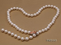 natural 10mm white round freshwater pearl single longer necklace