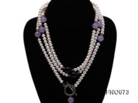 7mm natural white flat freshwater pearl with natural black agate and jade necklace