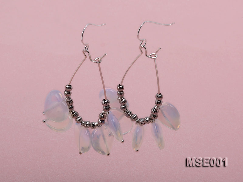 Drop-shaped Moonstone Pieces Earrings with Sterling Silver Hooks