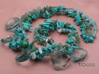 turquoise chips and faceted aquamarine beads necklace