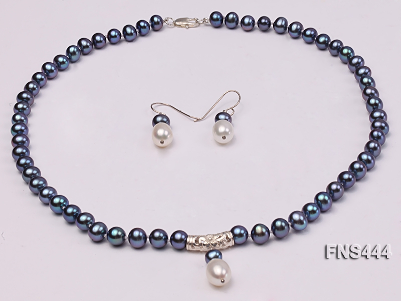 8mm black round freshwater pearl with sterling silver pendant necklace with dangle earrings
