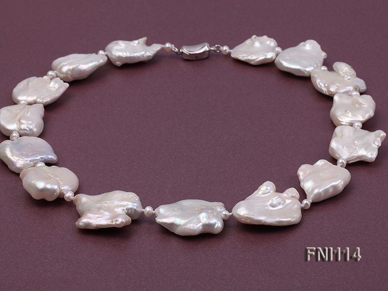 Classic White Baroque and Round Freshwater Pearl Necklace