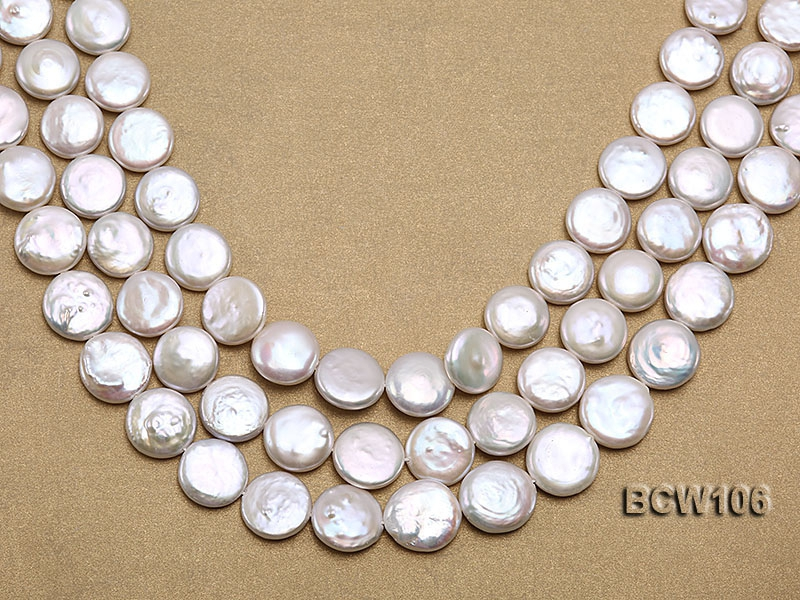 Wholesale 16x16mm Classic White Coin-shaped Cultured Freshwater Pearl String