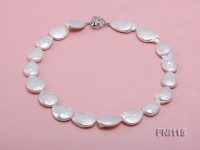 Classic 16mm White Button-shaped Freshwater Pearl Necklace