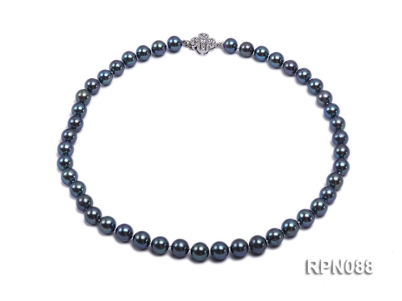 8.5mm Exotic Black Round Freshwater Pearl Necklace