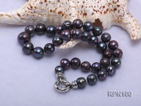 10-13mm Mysterious Black Round Freshwater Pearl Necklace