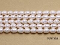 Wholesale 9.5x12mm Classic White Rice-shaped Freshwater Pearl String
