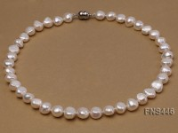 8-10mm natural white flat freshwater pearl single strand necklace