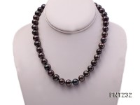 11.5-13mm Dark-purple Flat Freshwater Pearl Necklace and Bracelet Set