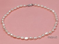natural 6*8mm white freshwater pearl single strand necklace
