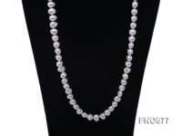8-10mm natural white color flat freshwater pearl necklace