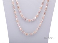 5.5*6.5mm natural white pink and lavneder rice freshwater pearl necklace