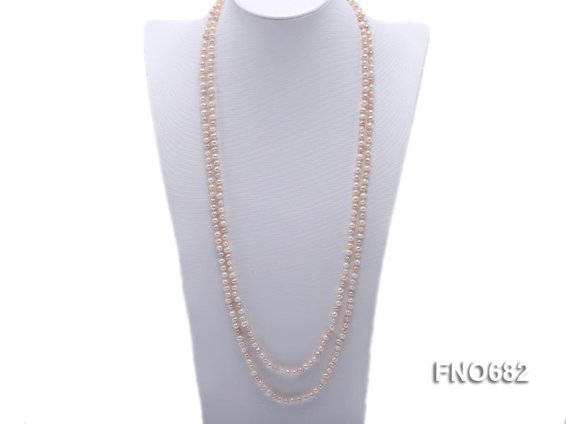 5mm natural white pink and lavender round freshwater pearl necklace