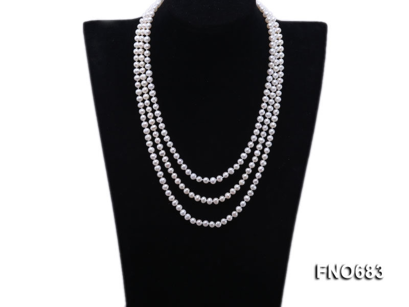 6.5mm natural white round freshwater pearl opera necklace
