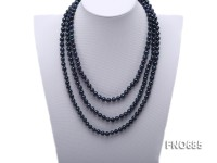 7.5mm black round freshwater pearl opera necklace