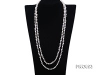 6mm natural white flat freshwater pearl necklace