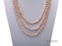 7-8mm natural light lavender white and pink flat freshwater pearl necklace