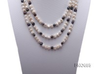 8mm white and black flat freshwater pearl necklace