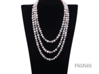 7-8mm natural white and lavender color flat freshwater pearl necklace