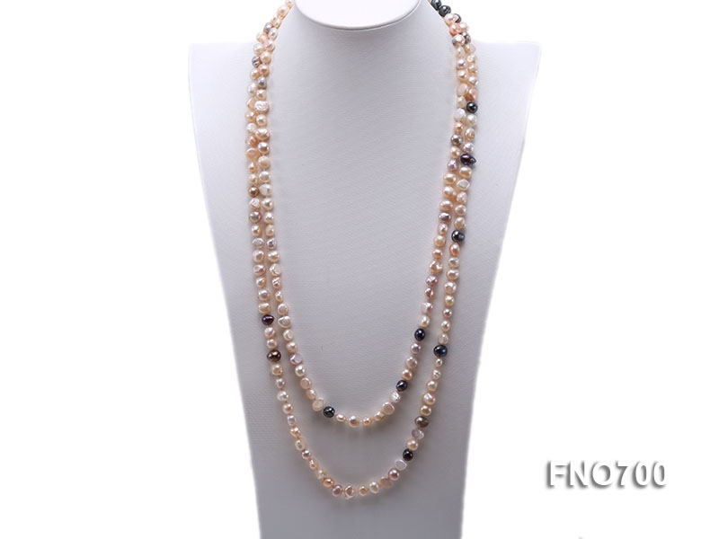 8mm pink and black flat freshwater pearl opera necklace
