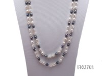 8*11mm white and black baroque freshwater pearl necklace
