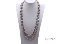 8-11mm pink and black flat freshwater pearl necklace