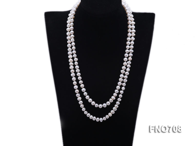 8mm natural white flat freshwater pearl necklace