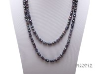 7.5*13.5mm black peanut-shaped freshwater pearl necklace