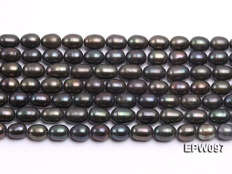 Wholesale 7X10mm Black Rice-shaped Freshwater Pearl String