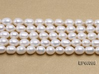 Wholesale 8.5×10.5mm Classic White Rice-shaped Freshwater Pearl String