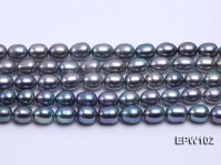 Wholesale A-grade 8x12mm Black Rice-shaped Freshwater Pearl String