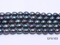 Wholesale Super-size 12x14mm Black Rice-shaped Freshwater Pearl String