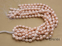 Wholesale A-grade 12.5x15mm Pink Rice-shaped Freshwater Pearl String