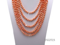 6-7mm orange flat freshwater pearl necklace