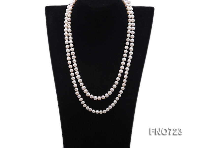 7.5mm natural white round freshwater pearl opera necklace