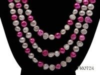 7.5mm white and pink flat freshwater pearl necklace