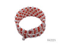 5 strand white freshwater pearl and red crystal bracelet
