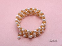 4 strand 6mm white freshwater pearl and yellow crystal bracelet