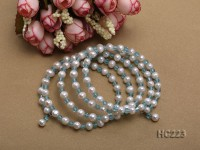 5 strand white freshwater pearl and bule crystal bracelet