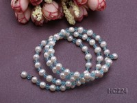3 strand 6mm white freshwater pearl and bule crystal bracelet