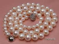 4.8-9.5mm natural white freshwater pearl Pyramid single necklace