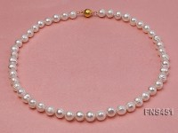 natural 7.3-8.5mm white round freshwater pearl single strand necklace
