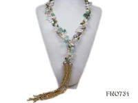 natural white freshwater pearl with seashell and drop crystal opera necklace