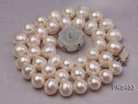 10-11mm natural white off-round freshwater pearl single strand necklace with shell flower clasp